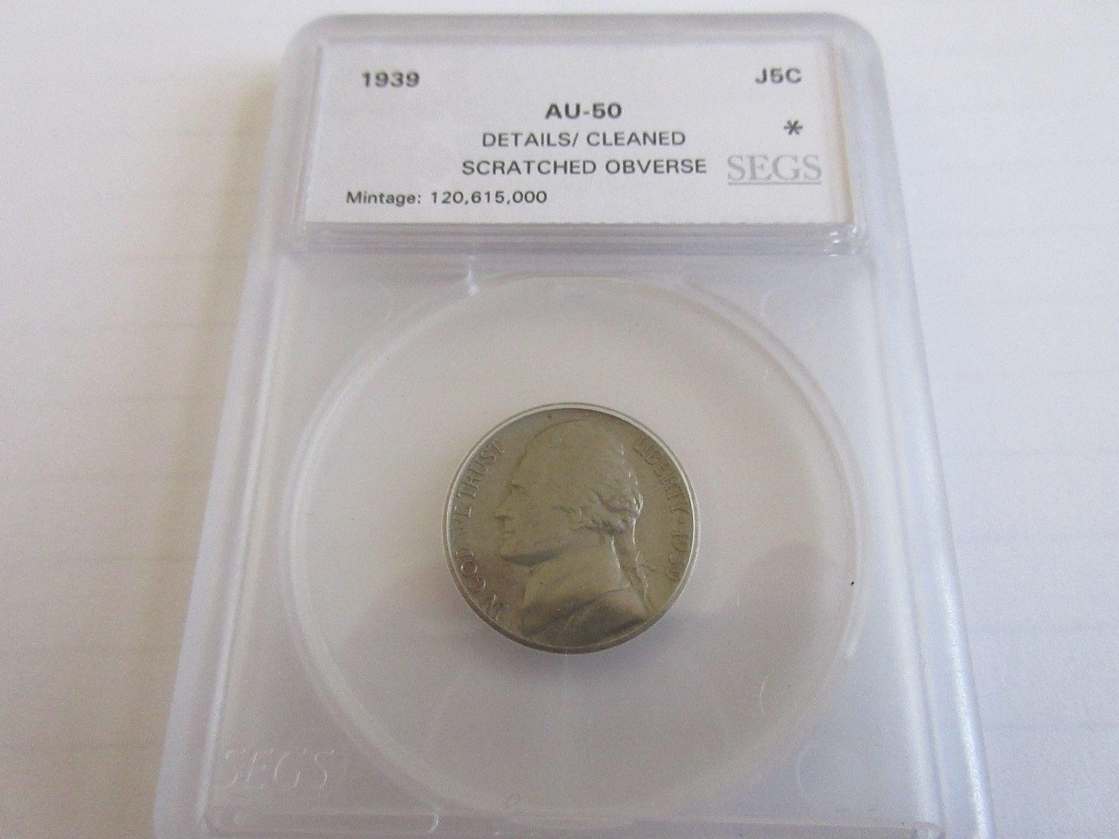 1939 , Jefferson , Nickel , AU , Cleaned , Screatched Obverse - $8.95