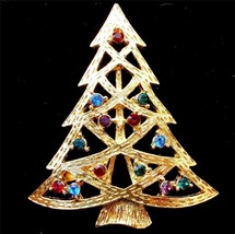 EISENBERG ICE CHRISTMAS TREE BROOCH OPEN BRANCHES  BRIGHT AND COLORFUL - $34.95