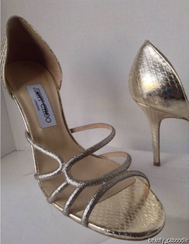 NEW Authentic JIMMY CHOO Straits D'Orsay Gold Sandals (Size 40.5) - MSRP $795.00 image 2