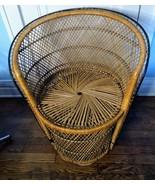 "Wicker Peacock Small Chair Boho 30"" Fan Back Rare Size Barrel Rattan VTG  - $197.01"