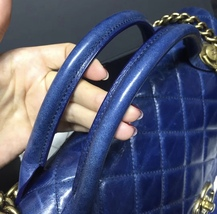 AUTHENTIC CHANEL BLUE QUILTED GLAZED CALFSKIN 2 WAY HANDLE FLAP BAG GHW image 6
