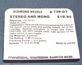 PHONOGRAPH RECORD PLAYER NEEDLE TURNTABLE STYLUS for JVC DT-41 JVC DT41 739-D7 image 3
