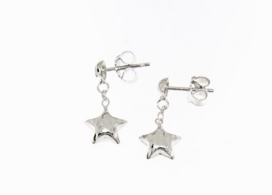 18K WHITE GOLD EARRINGS WITH VERY SHINY STAR WORKED MADE IN ITALY 0.51 INCHES