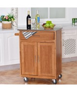 Wooden Kitchen Rolling Storage Cabinet with Stainless Steel Top - $201.07
