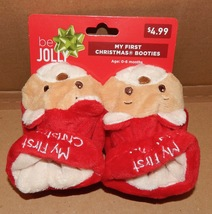 Christmas Baby Booties 0-6 Months My First Christmas By Dan Dee Bear/San... - $3.99