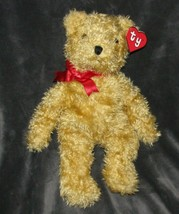 """Ty 1991 Teddy Bear Made In Korea Shaggy Style 5303 12"""" 18"""" Red Bow Curly... - $69.19"""