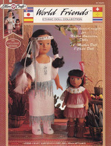 Native American Outfits Ethnic Doll Clothes Crochet Pattern FCM451 Mom Child - $12.37