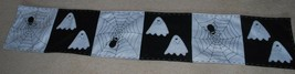 "Halloween Fabric Table Runner Black White Ghost Spiders Cobwebs Webs 13""... - $24.70"