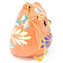 Handcrafted Painted Ceramic Peach Pink Owl Confetti Ornament Made in Peru image 4