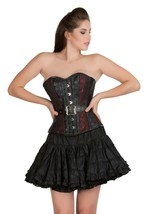 Red Black Brocade Leather Waist Training Bustier Overbust Costume Corset... - $79.99