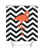Flamingo Chevron 115 Shower Curtain Waterproof Polyester Fabric For Bathroo - $33.30+