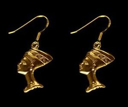 LOOK NEFERTITI egyptian egypt 24K Yellow Gold plated earrings jewelry Ro... - $31.08