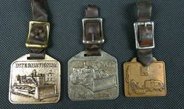 Set of Three Vintage Construction Pocket Watch Fob and Leather Strap 4 1... - $45.99