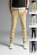 2018 Spring Thin Men's Trousers Long Slim Fit Pants Men 2018 Solid Male Casual P - $41.82
