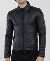 Mens Lambskin Black Leather Jacket Motorcycle Biker Custom Made Size S M... - $137.27