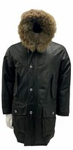 Acht Exte Ittierre Spa Leather Coyote Trim Parka Made in Italy Medium Black - $364.31