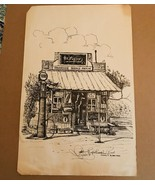 1998 Signed Ink Drawing of Riverside Texas Service Station - $33.25