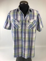 Men's IZOD Blue Plaid Short Sleeves Shirt Size XL Slim Fit 100% Cotton - $9.49