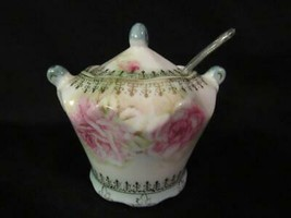 Lefton China Misty Rose Jam Jar - Pink & White Roses, Gold Trim - 1968 Mark - $18.99
