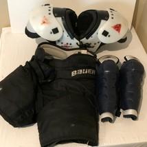 Hockey Gear Set Junior Jr Size Bauer Riddell Shoulder Pads Shorts Shin G... - $59.99