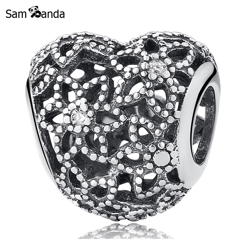 Primary image for Buy New Authentic 100% 925 Sterling Silver Charm Bead Blooming Heart Crystal