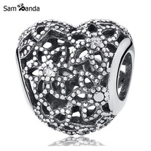 Buy New Authentic 100% 925 Sterling Silver Charm Bead Blooming Heart Crystal - $14.99