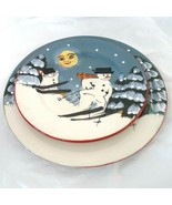 Sakura David Carter Brown Merry Christmas Holiday Snowman Dinner & Salad... - $19.79