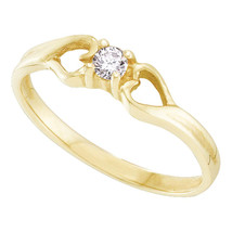 10kt Yellow Gold Womens Round Diamond Solitaire Heart Promise Bridal Ring - £145.80 GBP