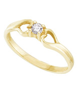 10kt Yellow Gold Womens Round Diamond Solitaire Heart Promise Bridal Ring - £129.79 GBP