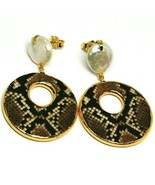 EARRINGS SILVER 925, HANGING, PEARLS BAROQUE STYLE FLAT, OVALS EFFECT SNAKE - $170.77