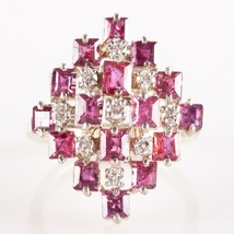 Vintage 1950's 14k Yellow & White Gold Ruby & Diamond Cocktail Ring 2.79ctw - $2,365.00