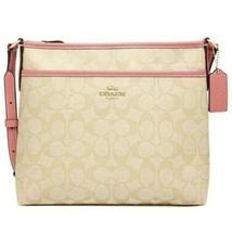 Coach Signature File Bag Crossbody Handbag Light Khaki / Carnation F29210 - $118.79
