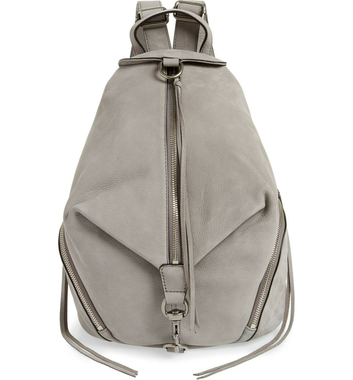 Primary image for NWT REBECCA MINKOFF Lrg Julian Full Size NUBUCK Leather Backpack GREY AUTHENTIC