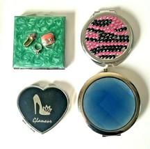 Lot 4 Compact Make Up Mirrors ~ Enameled Jeweled Rhinestones Heart Round... - $15.60