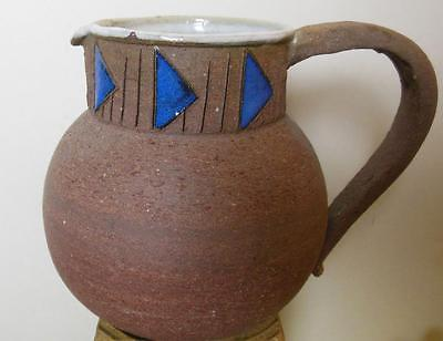 Primary image for Studio Pottery Pitcher Glazed Inside Blue  Pyramids Around the Neck 5.5""