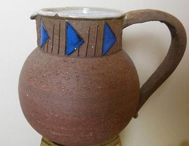 "Studio Pottery Pitcher Glazed Inside Blue  Pyramids Around the Neck 5.5"" - $19.00"