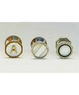 Art Deco Snap Link Cufflinks Mother of Pearl Inlay Singles Gold Silvertone - $11.69