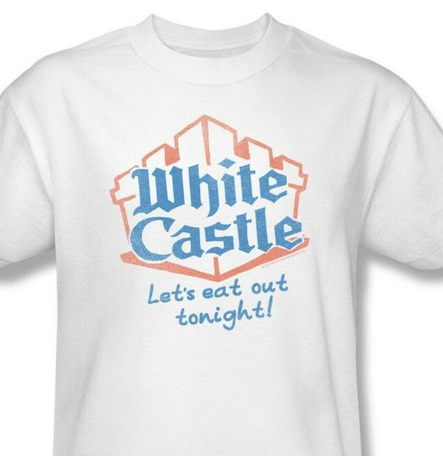 White Castle T-shirt retro graphic tee distressed logo 100% white cotton WHT110