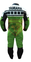 YAMAHA 6728 GREEN MOTORBIKE MOTORCYCLE BIKERS COWHIDE LEATHER ARMOURED 2... - $339.99