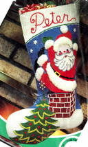 Vtg Paragon A Visit From Santa Roof Christmas Eve Needlepoint Stocking K... - $124.95