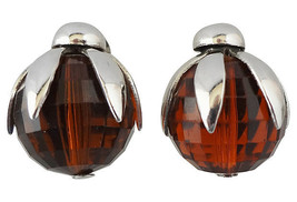 Vintage Signed Napier Faceted Faux-Topaz Rhinestone Runway Couture Earrings - $65.00