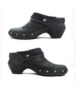 Smooth Black Nubuck Leather MERRELL LUXE WRAP Clog Ankle Booties Pirate Shoes 6 - $36.45