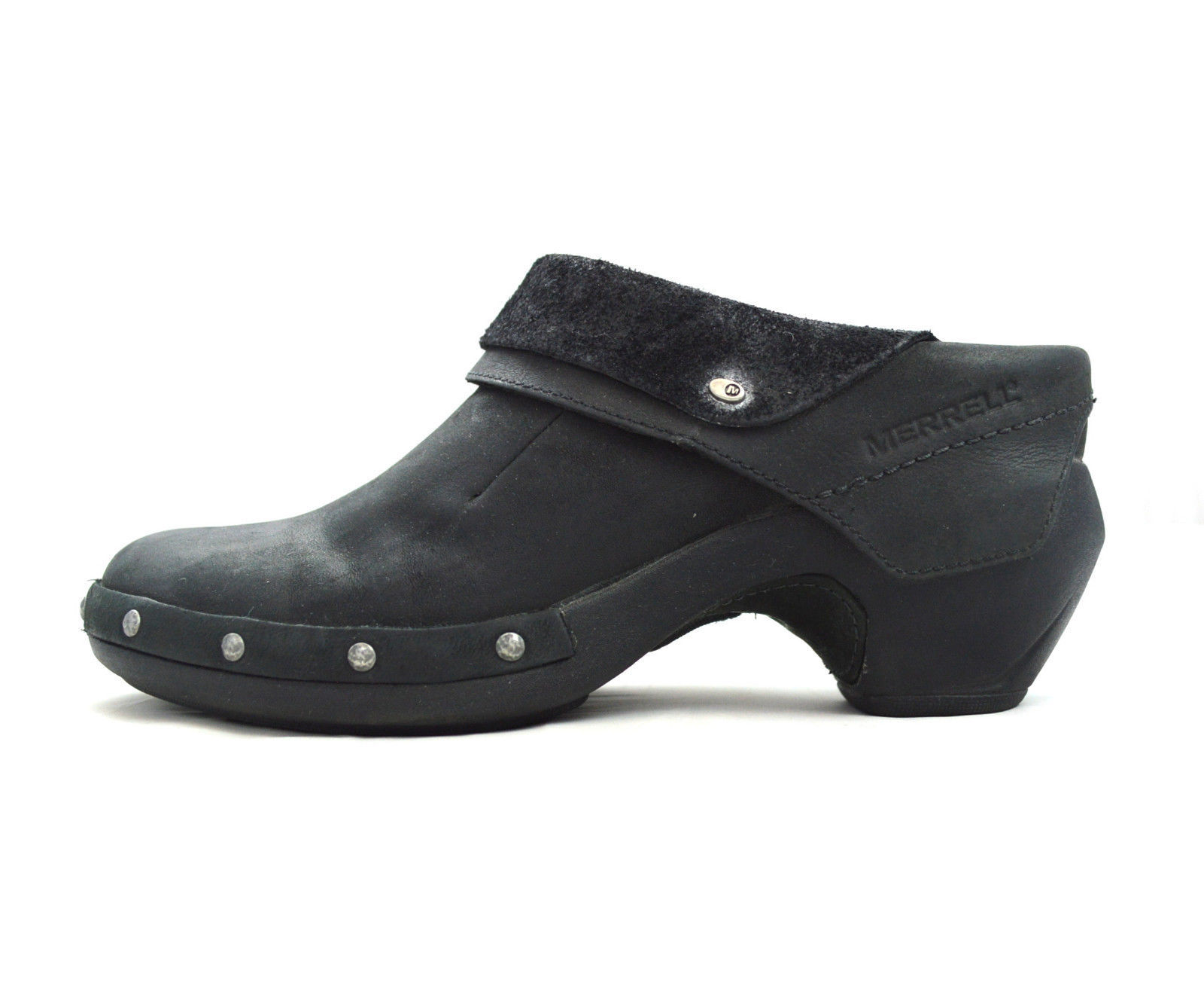 Smooth Black Nubuck Leather MERRELL LUXE WRAP Clog Ankle Booties Pirate Shoes 6