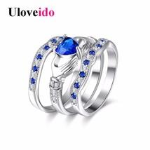Uloveido Engagement 3 Piece Set Rings Women Cubic Zirconia Bridal Blue H... - $7.99