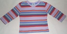 Girls Old Navy Lilac Blue Stripe Long Sleeve Top  Size 5 - $3.95