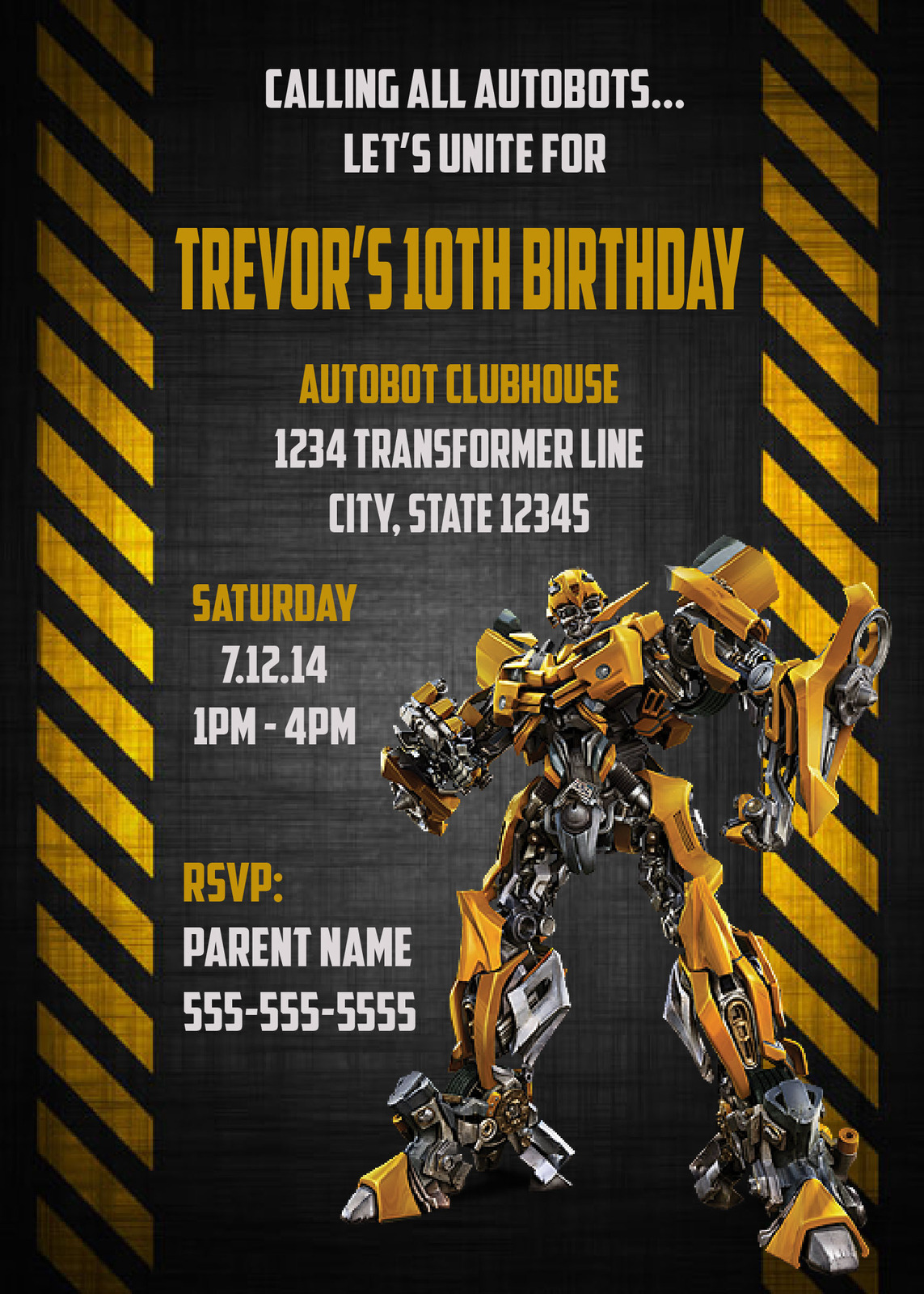 Transformers Bumblebee - Digital Birthday Invitation ...