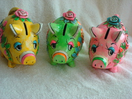 "Three ""HOLIDAY FAIR""  Piggy Banks - $25.00"