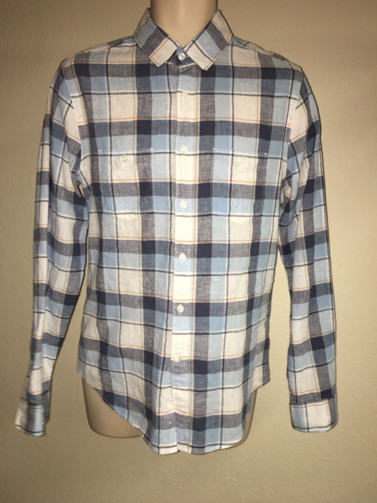 Primary image for Express Button Front Shirt Blue Plaid Mens Small Linen Blend NWT