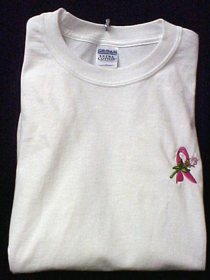 Breast Cancer T-Shirt 3XL Pink Awareness Ribbon Rose White S/S Crew Neck New