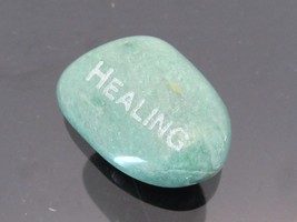 Vintage Nature Green Quart Carved Healing Stone  - $20.00